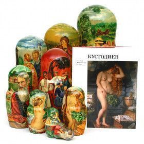 Kustodiev Paintings Nesting Doll and Book Set