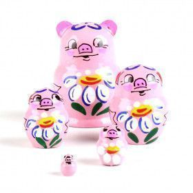 "1 1/4"" Tiny Pink Piggy Doll"
