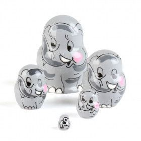 "1 1/4"" Tiny Elephant Matryoshka"