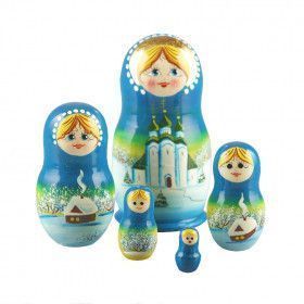 Blue Churches Russian Matreshka Doll