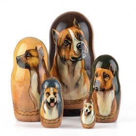Pit Bull Dog Russian Nesting Doll
