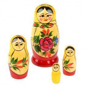 Little Red Roses Matryoshka Doll 4 pcs. Set