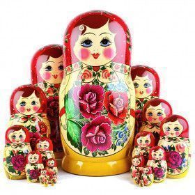 20 Pcs. Traditional Red Roses Matryoshka