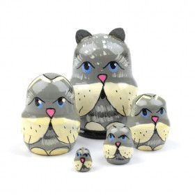 "1 1/2"" Tall Tiny Grey Cats Stacking Doll"