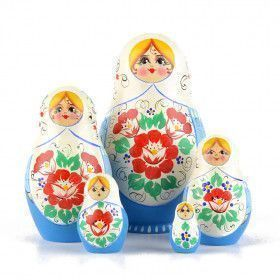Blue & White Floral Stacking Doll
