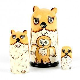 Owl Family Babushka Doll