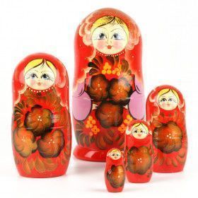 Red Floral Nesting Dolls Set