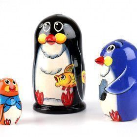 Penguin with Fish Matryoshka Doll