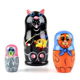 Black Cat Fishing Matryoshka