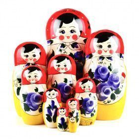 10 pcs. Tradisional Purple Flowers Doll