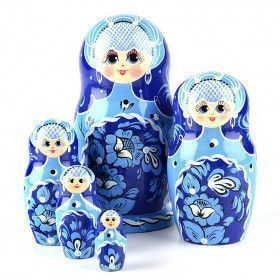 Beautiful Blue Floral Stacking Doll