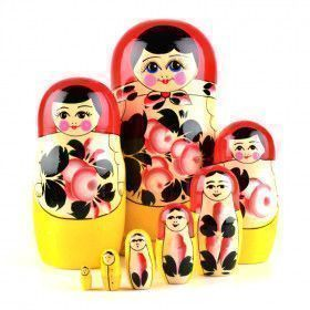Pink Flowers 8pc Traditional Matryoshka