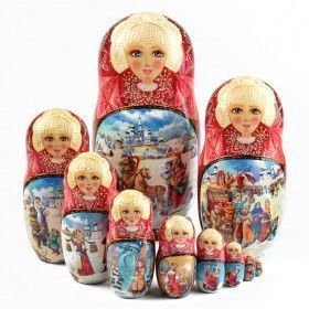 Collectible Winter Troika Matryoshka