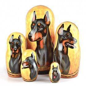 Doberman Dog Breed Nested Doll