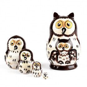 """2"""" Tall Tiny Brown Owl Nested Doll"""