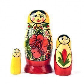 3 Pcs Red Roses Babushka