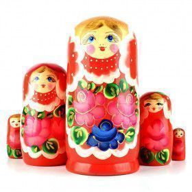 Red Floral Wooden Matryoshka