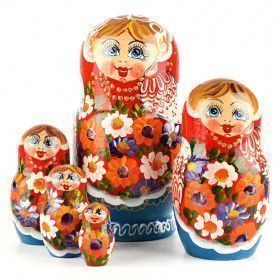 Colorful Doll Hand on Cheek Matryoshka