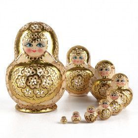 Golden Flowers 10-pcs Nesting Doll