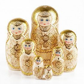 Golden Flowers 7pc Nested Doll
