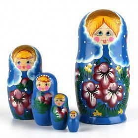 Purple Flowers Blue Babushka Doll