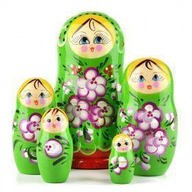 Floral Green Russian Doll