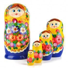 Floral Blossom Beauty - Yellow & Blue Doll from Russia