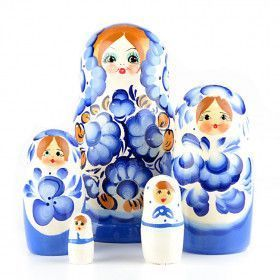 Blue and White Nested Doll