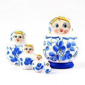 Blue & White Pot Belly Babushka