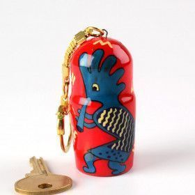 Red & Blue Kokopelli Key-chain