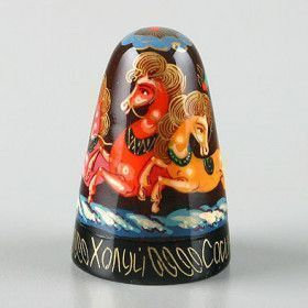 Russian Troika Hand Painted Thimble