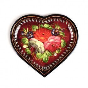 Heart Shaped Zhostovo Tray