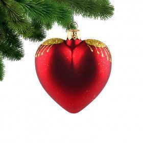 Set of Four Red Heart Christmas Ornament
