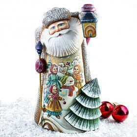 Large Hand Carved Santa With Painting