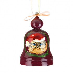 Christmas Cat Wood Bell Ornament