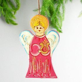 Wooden Christmas Angel Ornament Pink