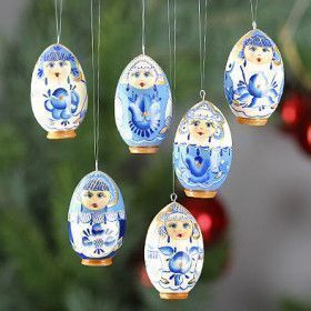 Blue Flower Girls Ornaments Set