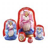 "1 1/2"" Tall Tiny Pink Angel Matryoshka Doll"