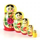 Red Roses 5 Pcs. Set Babushka Doll