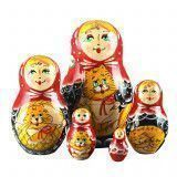 Girl With Cats Babushka Doll