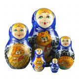 Blue Matryoshka With Cats