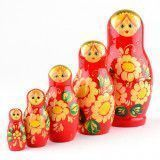 Red Stacking Doll with Daisies