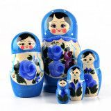 Blue Russian Doll with Flowers