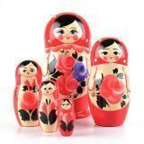Red Matryoshka Doll with Flowers