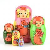 Girl with Cat - Pink Matryoshka