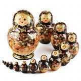 Black and Gold Floral Matryoshka