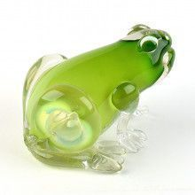 Handsome Glass Blown Green Frog