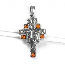 San Damiano Icon Cross with Amber Pendant