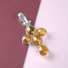Amber Silver Cross