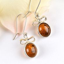 Silver Bow & Amber Earrings